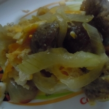 いり卵と肉団子の炒め物