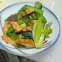 酒の肴:小松菜と鶏肉の炒めもの