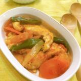 鶏むね肉もしっとり♡簡単ラタトゥイユ風トマト煮