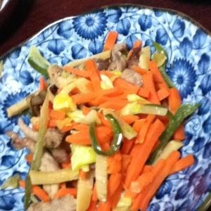 三色野菜と豚細切り肉の炒め物