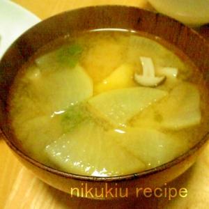 野沢菜・大根・しめじ・じゃがいもの味噌汁