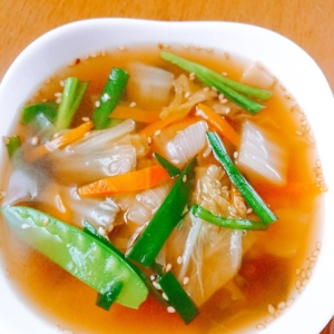 冷凍野菜で☆具だくさんの中華点心スープ