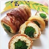 オーブンで簡単☆小松菜&油揚げ&豚肉のクルクル巻き