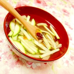 塩麹茸de❤ズッキーニとDトマト&ドリトスのスープ