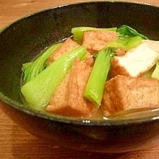 塩麹焼豚の煮汁で簡単もう1品☆青梗菜と厚揚げ煮