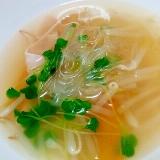 もやしとハムの春雨スープ