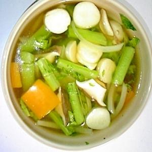 大根の葉っぱと残り野菜の☆簡単☆食べるスープ