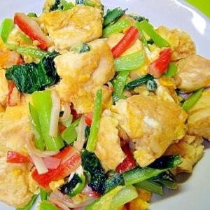 豆腐と小松菜カニカマのチャンプルー