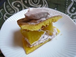 大豆粉パンケーキにココアクリームでケーキ