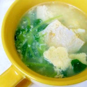 豆苗と冷凍豆腐のスープ
