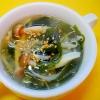 もやし、しめじ、ワカメの中華スープ