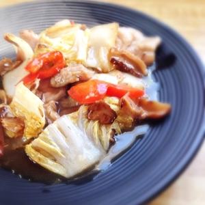 白菜と豚肉の中華あんかけ♪