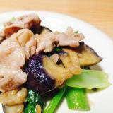 豚肉となすと小松菜のみそ炒め