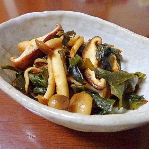 海藻としめじの豆板醤ポン酢炒め
