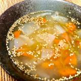 根菜・薬味たっぷり♪鶏のゆで汁で参鶏湯風スープ