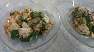 豆腐とオクラの白ごま和え