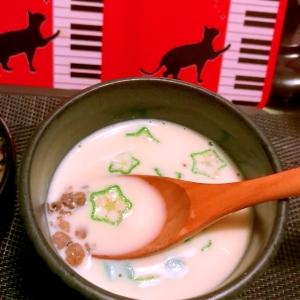 雑穀とオクラの冷たいプチとろ豆乳スープ