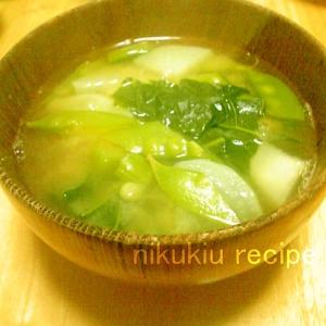 大根・きぬさや・小松菜の味噌汁