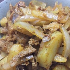 タコスシーズニングで豚肉とポテトの炒めもの