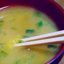 青ネギたっぷりの サツマイモが入ったお味噌汁