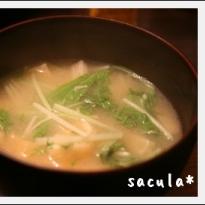 水菜と油揚げとえのきの味噌汁