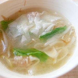 もやしと冷凍ワンタンのスープ
