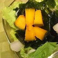 べか菜とわかめとかぼちゃのサラダ