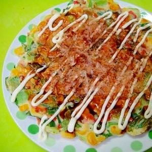 小松菜とコーン桜海老のお好み焼き