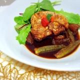 鶏胸肉とドライいちじくの赤ワイン煮