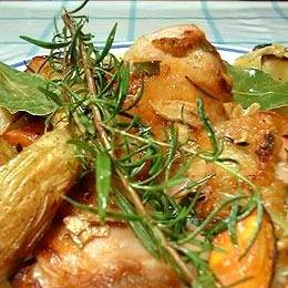 ハーブで作る鳥もも肉と野菜のオリーブ焼き