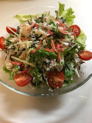 水菜とヒジキのツナポテトサラダ