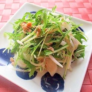 水菜と新玉ねぎとツナのエスニックサラダ