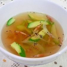胡瓜と干しエビのコンソメスープ