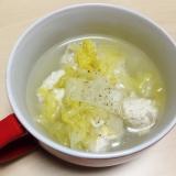 豆腐入り鶏団子と白菜の梅昆布茶塩スープ