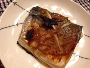 サバのハニー味噌マスタード焼き。