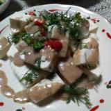 豆腐のパクチーごまサラダ