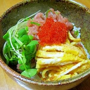 ちょっぴり豪華♪お家のネギトロ丼(*^_^*)~♪