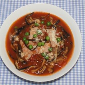 ドライベジ麺☆乾燥なす麺でコンソメトマトスープ