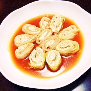 ルクエで塩糀鶏ミンチと椎茸のロール白菜