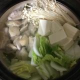 ポン酢で食べる♪白菜えのき豆腐の鶏もも水炊き♡