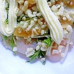 水菜とエリンギとえびの揚げ玉サラダ