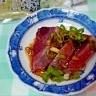 鰹の刺身を美味しくにんにく醤油とあらぎりわさびで♪