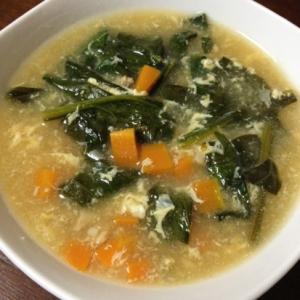 人参とホウレン草と卵のポン酢スープ