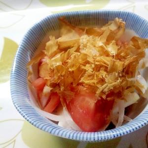 トマトと新玉ねぎのぽん酢だれ++