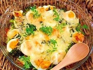 ブロッコリーと茹で卵☆味噌マヨチーズ焼き