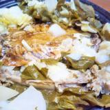 鯵干物&チキン骨&かぶ小松菜キャベツ蒸し