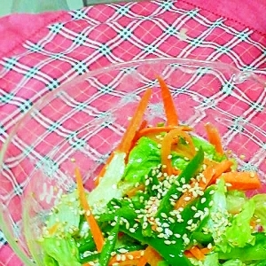 ピーマンと人参とレタスのグリーンサラダ