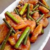 簡単!柔らか❤鶏むね肉とにんにくの芽の炒め