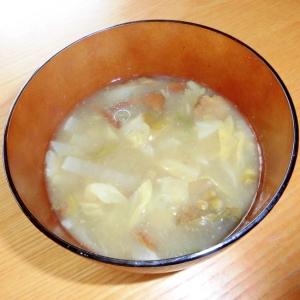 大根とふきのとうと舞茸葱のお味噌汁