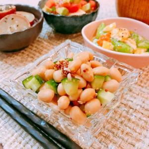 糖質制限☆お豆とキュウリのマスタードサラダ